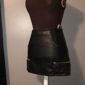 Faux Leather Zipper Skirt
